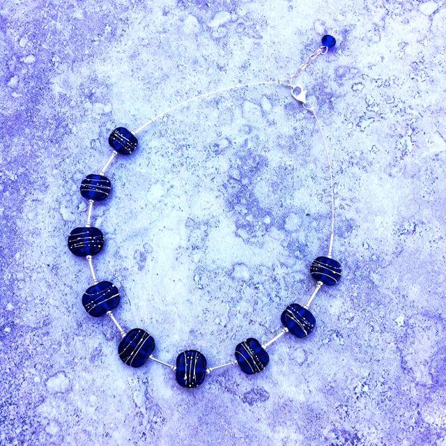 Skyy Vodka necklace, handmade glass beads by Julie Frahm