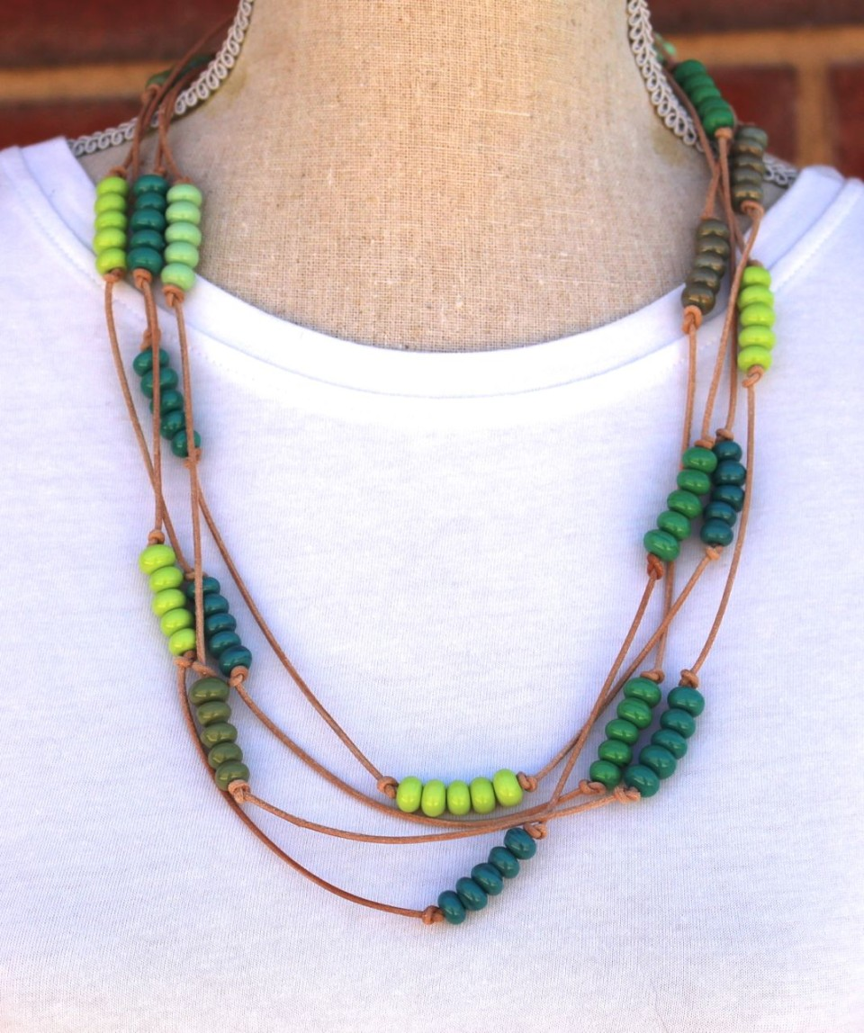 Green Beads on leather necklace