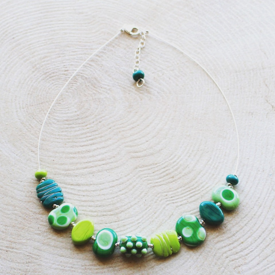 Mixed green glass necklace.