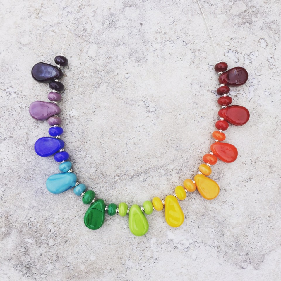 Rainbow Colour Wheel Necklace, beautiful handmade glass beads by Julie Frahm