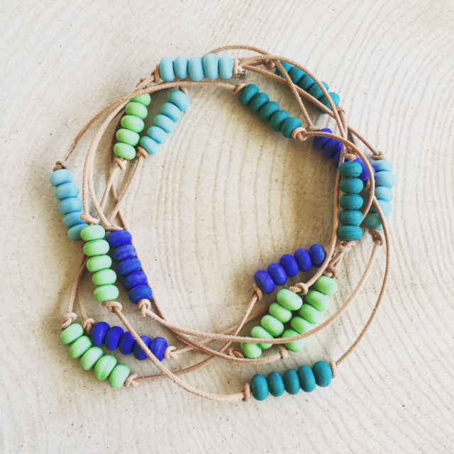 Etched blue/green handmade glass bead necklace