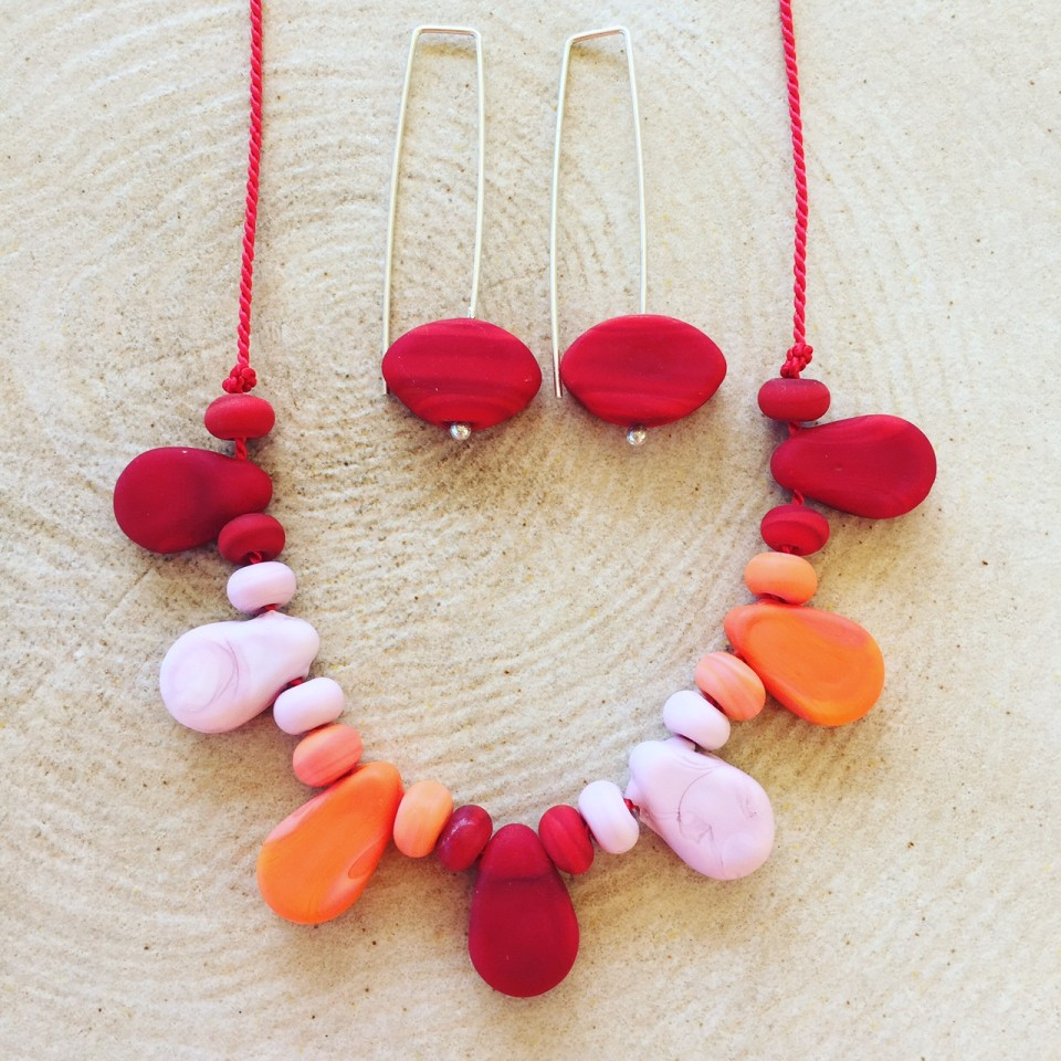 Etched red handmade glass bead necklace and earrings!