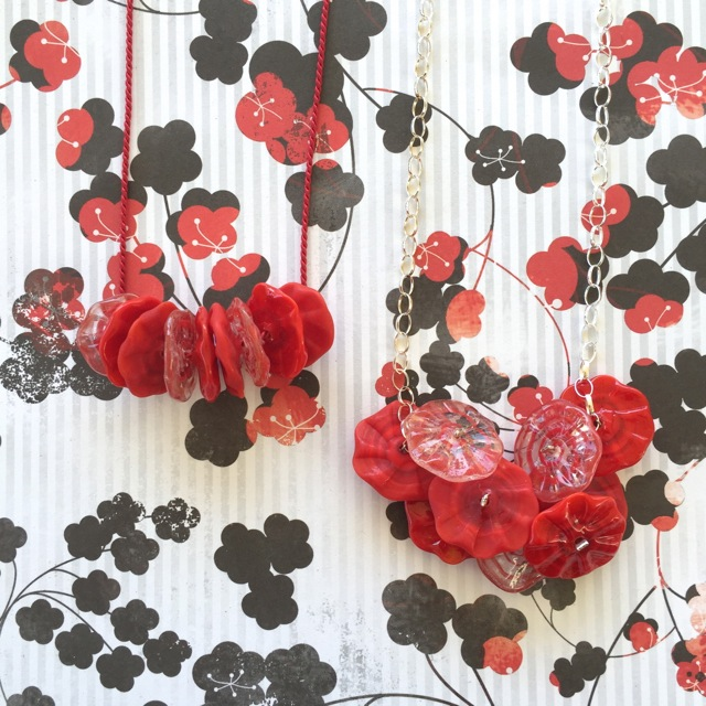 Red flower disk necklaces