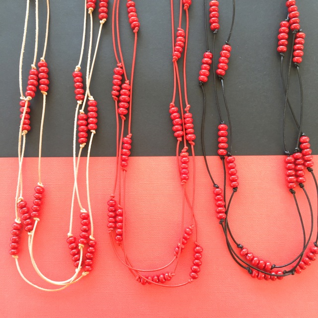 Handmade red glass beads on leather neckalces
