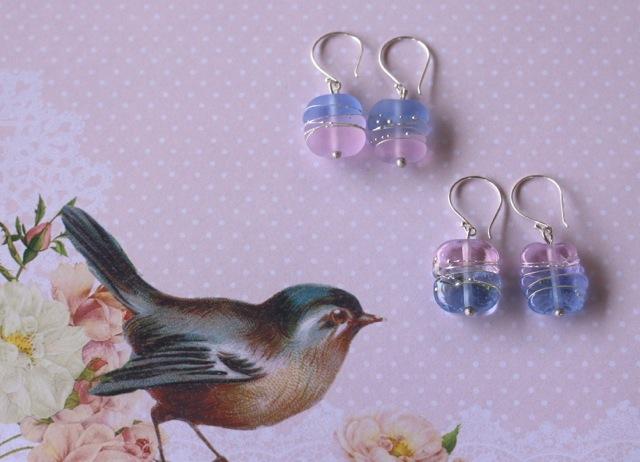 Rose Quartz and Serenity handmade glass bead earrings by Julie Frahm