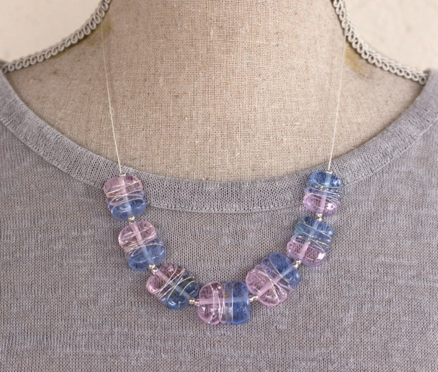 Rose Quartz and Serenity handmade glass bead necklace by Julie Frahm
