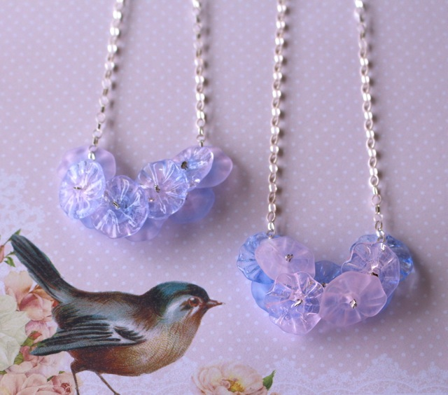 Pantone Colour of the Year - Rose Quartz and Serenity - Handmade glass beads and jewellery by Julie Frahm