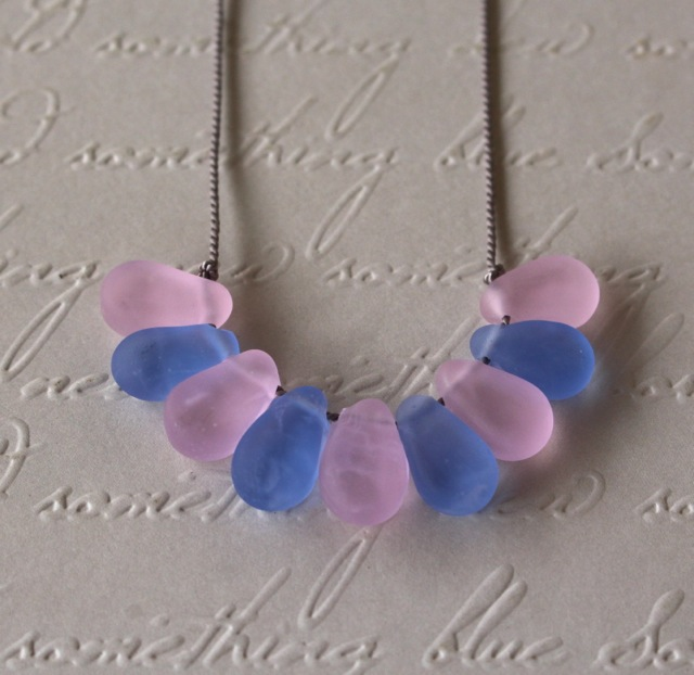 Rose Quartz and Serenity necklace on silk cord