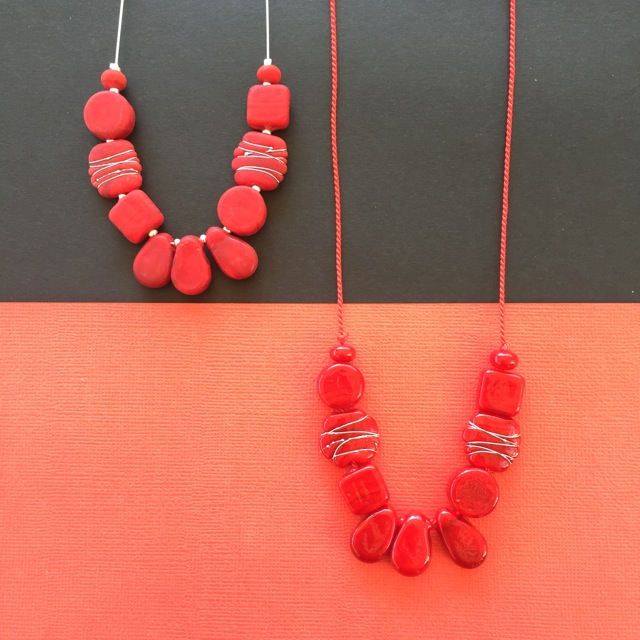 Red handmade glass bead necklaces by Julie Frahm