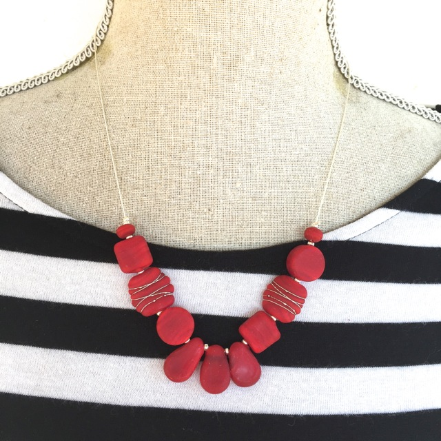 Etched red glass bead necklace