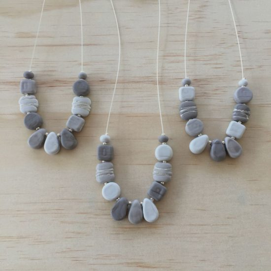 Etched grey glass bead necklaces by Julie Frahm