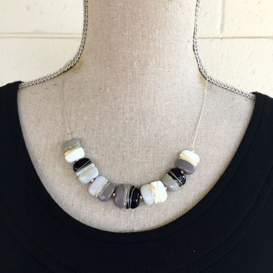 1. Grey, Black and White Shiny Necklace.  Special Colour Play price $45
