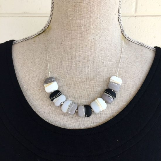 2. Grey, Black and White Etched Necklace.  Special Colour Play price $45