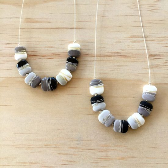 Grey, Black and White glass bead necklaces by Julie Frahm