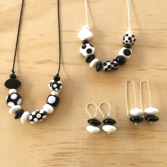 Black and white handmade glass bead jewellery by Julie Frahm