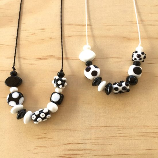 Black and white handmade glass bead necklaces by Julie Frahm