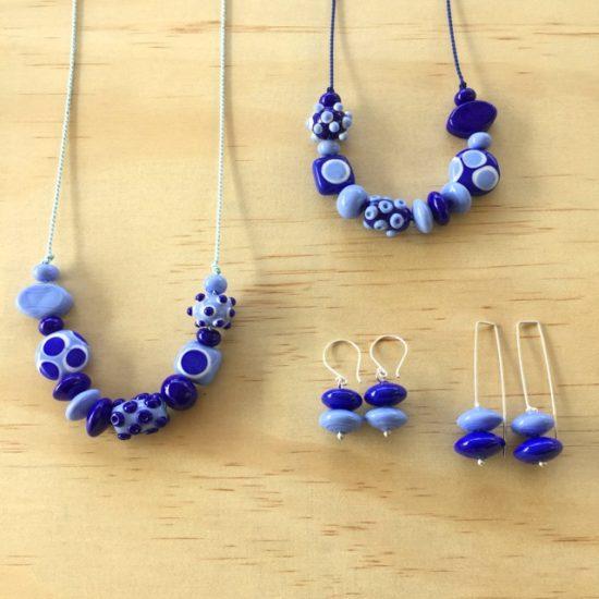 Blue handmade glass bead jewellery by Julie Frahm