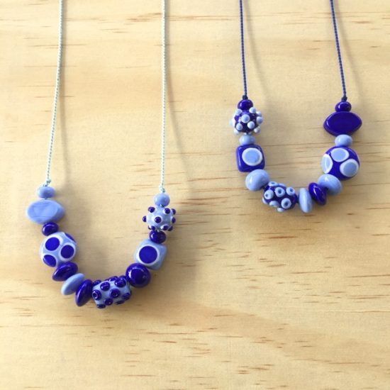 Blue handmade glass bead necklaces by Julie Frahm