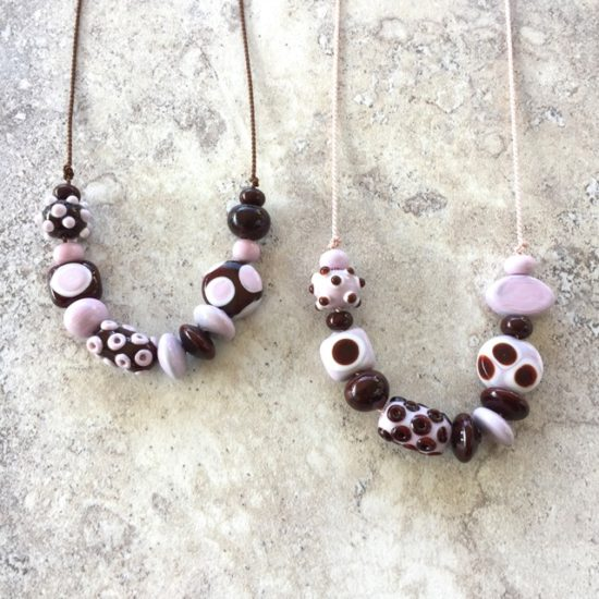 Brown and pink handmade glass bead necklaces by Julie Frahm