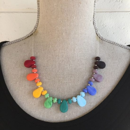 Colourful drop necklace (red ends)
