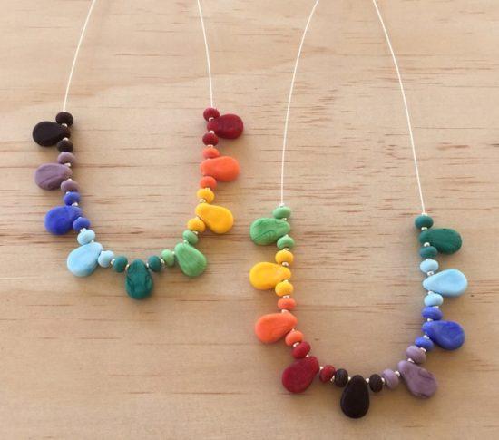 Colourful drop necklaces