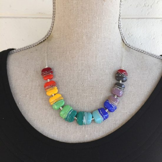 Colourful Fine Silver Wire Necklace (red ends)