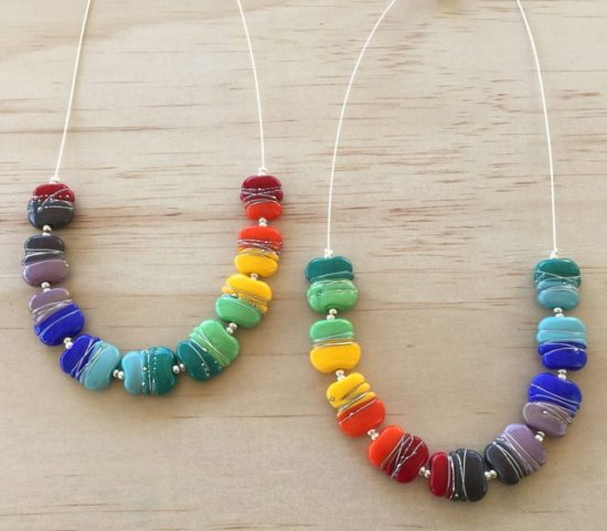 Colourful Fine Silver wire necklaces