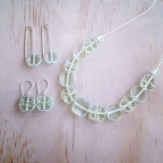 Green Depression Glass jewellery by Julie Frahm