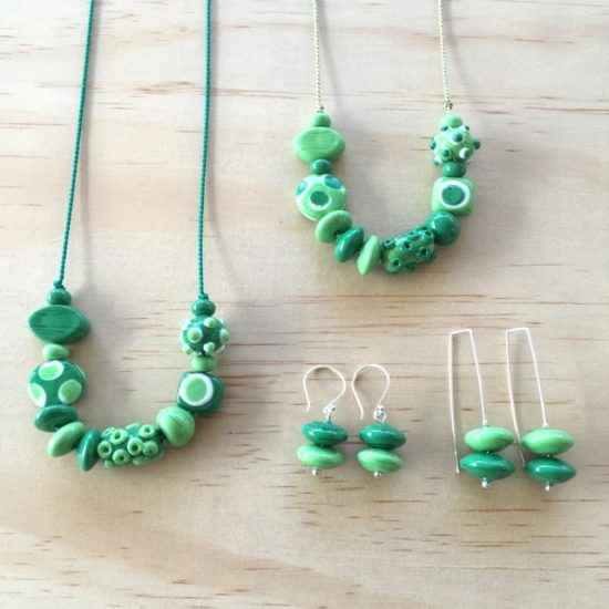 Green handmade glass bead jewellery by Julie Frahm