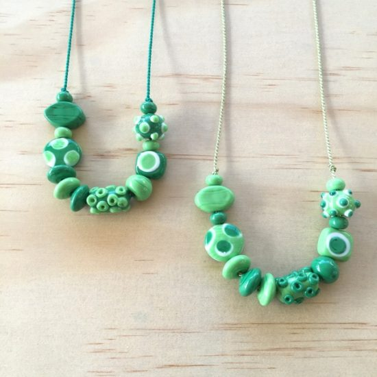 Green handmade glass bead necklaces by Julie Frahm