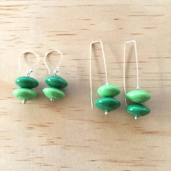 Green handmade glass bead earrings by Julie Frahm