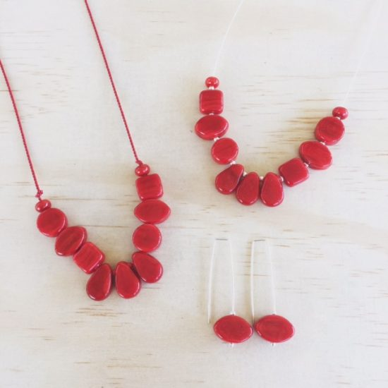 New Red handmade glass bead jewellery from Julie Frahm