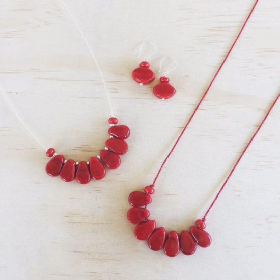 New Red handmade glass bead jewellery by Julie Frahm