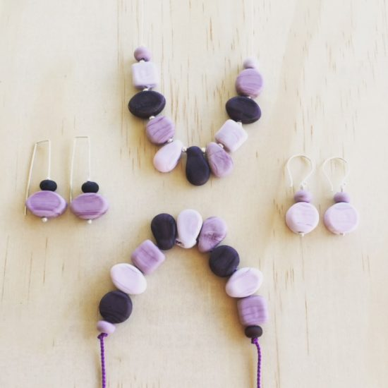 Purple Etched handmade glass bead necklace and earrings by Julie Frahm
