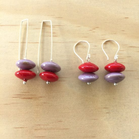 Red and purple handmade glass bead earrings by Julie Frahm
