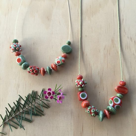 Olive Green and Coral necklace by Julie Frahm