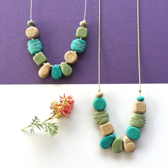 Shades of Green necklaces by Julie Frahm