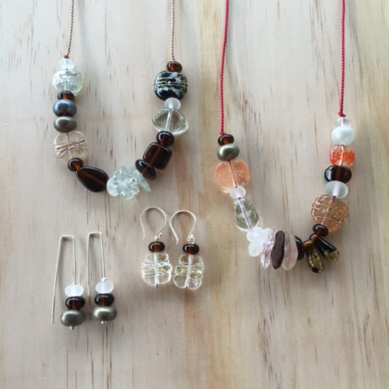 Mixed neutral recycled glass jewellery by Julie Frahm