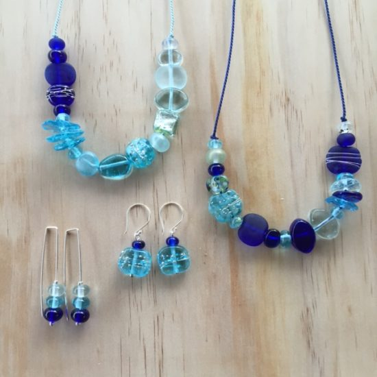 Mixed blue recycled glass bead jewellery by Julie Frahm