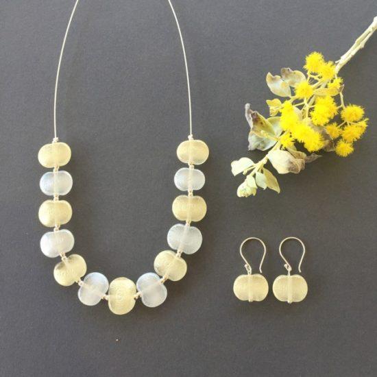 Silver Gold handmade glass bead jewellery by Julie Frahm