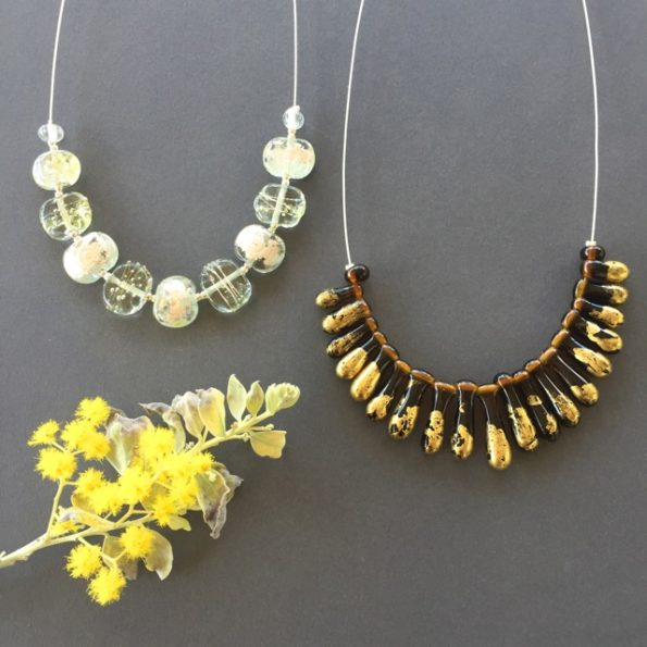 Silver Gold handmade glass bead jewellery by Julie Frahm