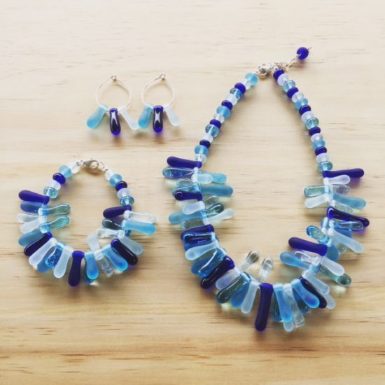 Blue Coral - handmade glass beads made from recycled glass bottles