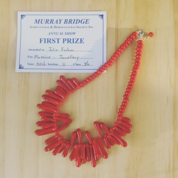 First prize - red necklace with handmade glass beads by Julie Frahm