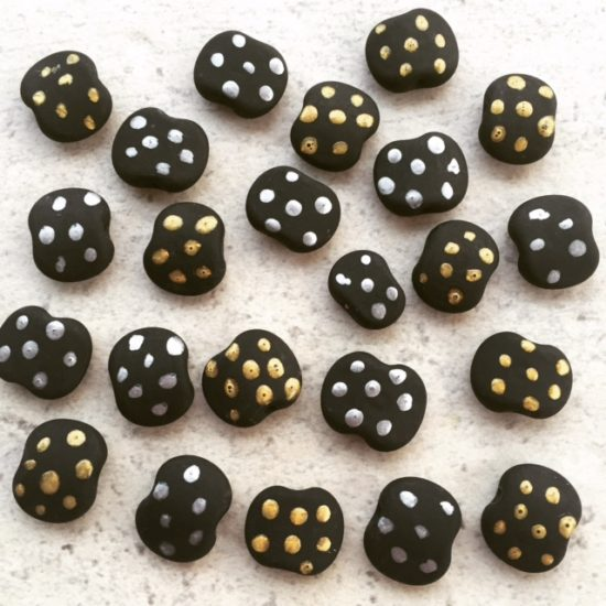 Silver Gold Etched Glass Beads by Julie Frahm