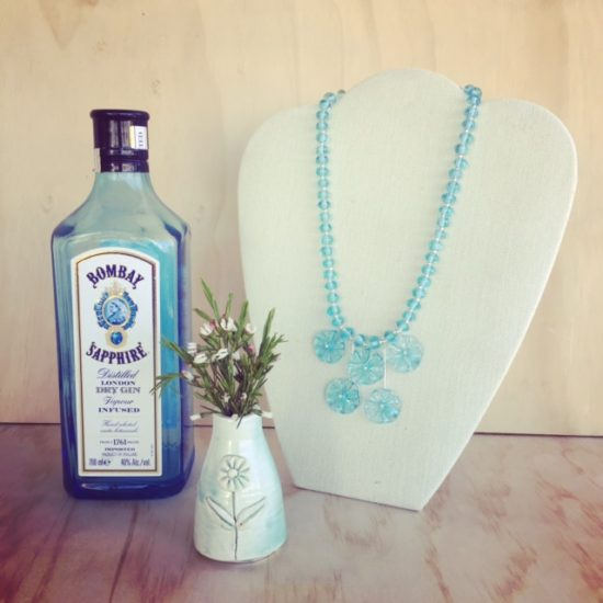 Bombay Sapphire Gin recycled glass jewellery
