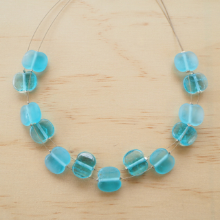 Bombay Sapphire Gin recycled glass necklace