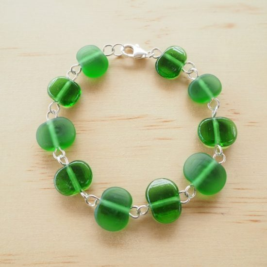 Peroni etched recycled glass bead bracelet