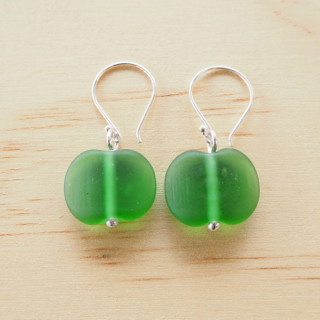 Peroni etched recycled glass bead earrings