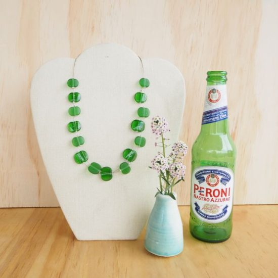 Peroni beer upcycled glass bead jewellery