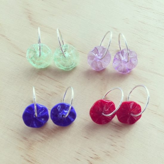 hoop earrings with changeable glass beads